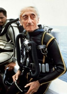 Jacques Cousteau ~ loved watching his specials. Wanted to grow up and marry his son Phillipe ~ dang it. I learned so much about the ocean from Jacques Cousteau Jacques Cousteau, Beatles, Scuba Gear, Underwater World, Sophia Loren, Famous Faces, Kurt Cobain, Scuba Diving, Cave Diving
