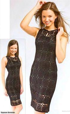 Black Square Pattern Dress free crochet graph pattern