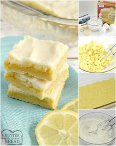 step by step instructions on how to make lemon cheesecake bars Lemon Lush Dessert, Lemon Dessert Recipes, Lemon Recipes, Sweet Recipes, Lemon Raspberry Muffins, Cherry Muffins, Lemon Buttermilk Pound Cake, Lemon Cheesecake Bars, Lemon Sugar Cookies