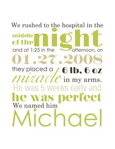 Hanging Birth Announcement