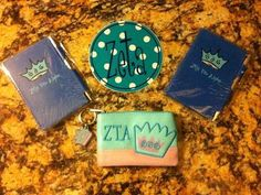 $14.95 ZTA ZLAM!!!  Zeta Little Sister Gift Set  Awesome gift set for a little sis in the Zeta Tau Alpha sorority. Or just buy it for yourself as a treat! Includes an indoor/outdoor vinyl bumper sticker decal, two purse notepads with 80 sheets of paper and a ball point pen, and an ID wallet key chain. For a limited time, get free domestic shipping on all orders!