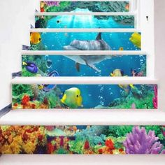 Sea World Animal Print Stair Stickers - COLORMIX 100*18CM*6PCS