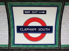 Tiling around Clapham South station sign