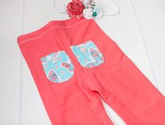 Oh So Coral newborn pants set a a deep coral by SoTweetDesigns