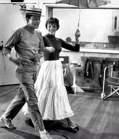 "Dick Van Dyke and Julie Andrews rehearsing on the set of ""Mary Poppins"""