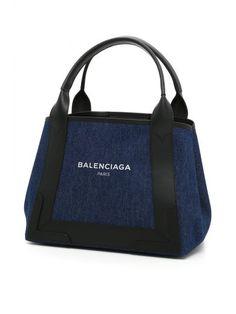 BALENCIAGA Navy Cabas S Bag. #balenciaga #bags #leather #hand bags #lining #denim #cotton #
