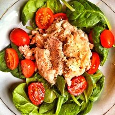 .@mankofit | Simple snack of spinach and tuna salad with cherry tomatoes ! | Webstagram - the best Instagram viewer