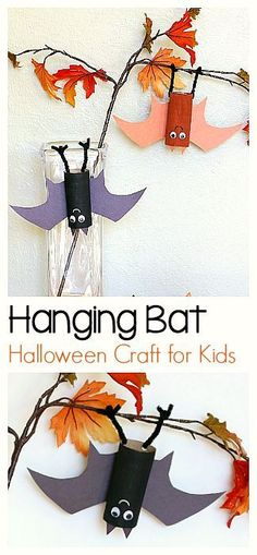 Halloween Craft for Kids: Hanging Bat Art Project using cardboard tubes (tp or toilet paper roll) ! Fun for fall and makes a great addition to the children's book Stellaluna! ~ BuggyandBuddy.com