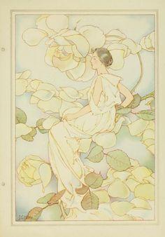 Illustration vintage de Laura Coombs Hill  © - artiste américaine 1859-1952.