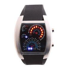 parallel time LED エルイーディー デジタル腕時計 スピードメーター ブラック