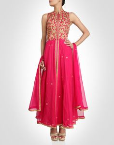Pink anarkali dotted with golden butis. Shop Now: www.kimaya.in