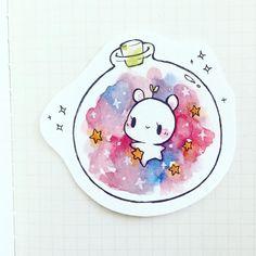Magical bunny in space jar Kawaii Drawings, Cute Drawings, Pretty Art, Cute Art, Drawn Art, Dibujos Cute, Kawaii Art, Art Inspo, Amazing Art