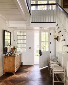 Benjamin moore white, pine dresser, entry way design, entry foyer, entrance Luxury Interior Design, Interior And Exterior, Interior Architecture, Foyer Staircase, Spiral Staircases, Staircase Design, Sweet Home, Entry Way Design, Craftsman Style Homes