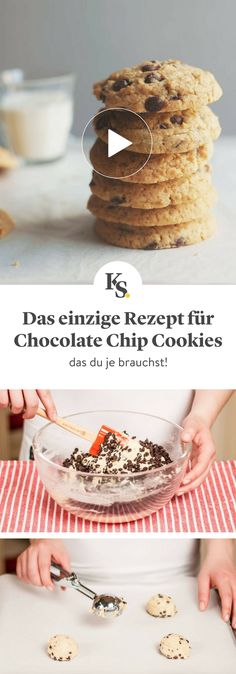 All Time Easy Cake : Cookies with pieces of chocolate, Chocolate Chip Cookies Rezept, Chocolate Cake Recipe Easy, Perfect Chocolate Chip Cookies, Chocolate Chip Recipes, Chocolate Chips, Healthy Chocolate, Cake Chocolate, Chip Cookie Recipe, Easy Cookie Recipes