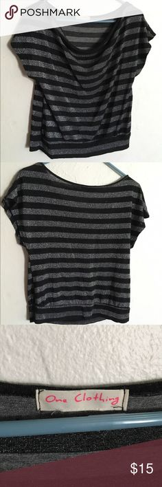 One Clothing Striped sparkly top Silver and black striped off the shoulder top. Size small. Lightly worn. Good condition. Very cute on and comfy. One Clothing  Tops Blouses