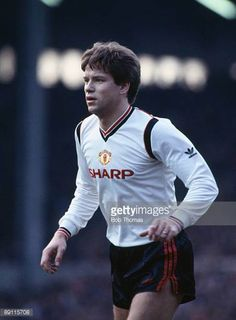 John Sivebaek in action for Manchester United against Liverpool at Anfield in Liverpool 9th February 1986 The match ended in a 11 draw