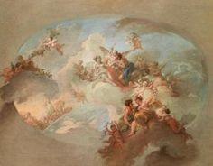 """Claudio Francesco Beaumont (1694 -1766) was een Italiaanse kunstenaar. Na zijn studie ging hij naar Rome, waar hij de werken van Raphael, de Carracci, en Guido Reni kopieerde. Hij lijkt weinig respect te hebben gehad voor de Romeinse schilders van zijn eigen tijd, behalve voor Trevisani, waarvan hij het gebruik van krachtige tinten imiteerde.  Allegorie van """"de Zomer met Flora, Zephyr Mars, Venus en de wagen van Apollo"""""""
