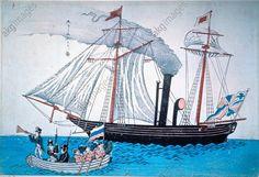 Bateau à vapeur et à voiles / grav. japon. Art japonais, début du 19ème siècle. Art japonais, début du 19ème siècle. Bateau à vapeur et à voiles avec différents pavillons européens (hollandais, britannique et russe).