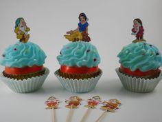12 X Blancanieves Y Siete Enanitos Pastel Picks//Cupcake Toppers Niños Fiesta De Cumpleaños