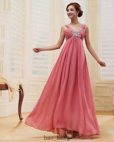 New Bride Wedding Formal Party Bridesmaid Prom Evening Maternity Dress Gown | eBay