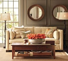 Family room idea colors, plus painted moulding to match walls and picture frame panels