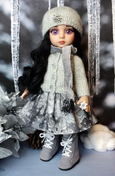 """**SiLVeR SNoWFLaKeS**...a special all original outfit for your 10"""" Tonner Patsy, Ann Estelle, Sophie, Georgia, or Half Pint dolls. Features a silvery handknit sweater, scarf, hat, skirt, and glittery gray and white tights. An exclusive design of Karmel Apples Doll Clothes and at my website now available. Click the pix to check it out! ONLY One in stock!"""