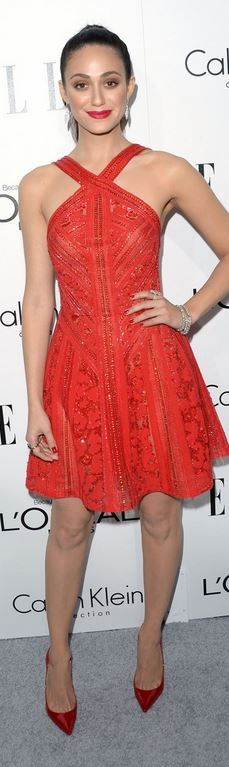 Emmy Rossum in a red Elie Saab sequin dress and Christian Louboutin pumps @ Elle's 20th Annual Women In Hollywood
