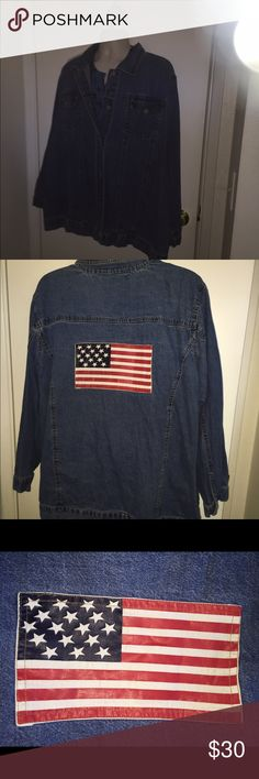 Denim jacket w/ flag patch size 3x by Roaman's Worn once washed once American Flag on back Roamans  Jackets & Coats Jean Jackets