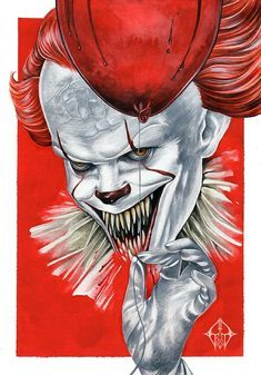 "Horror Movie Art : ""It"" 2017 ""Pennywise"" by GrathVonGraven @ deviantart Clown Pennywise, Pennywise The Dancing Clown, Pennywise Tattoo, Pennywise Painting, Le Clown, Creepy Clown, Horror Artwork, Horror Icons, Classic Horror Movies"