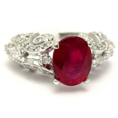 Offering a large selection and choices for red rubies engagement rings, diamond rings with rubies, oval ruby and diamonds engagement ring, antique ruby engagement ring. Ruby Engagement Ring Vintage, Antique Style Engagement Rings, Diamond Engagement Rings, Diamond Studs, Diamond Rings, Beauty And The Beast, Fashion Rings, Fine Jewelry, Jewels