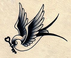 Sparrow tattoo..Love the ideal of it having a key and maybe another one having the heart