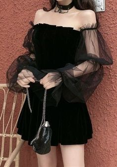 Goth style 513832638739770018 - Pleated Gothic Dress with Mesh Sleeves – Source by ninjacosmico Grunge Outfits, Kpop Fashion Outfits, Gothic Outfits, Edgy Outfits, Korean Outfits, Mode Outfits, Cute Casual Outfits, Pretty Outfits, Pretty Dresses