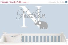 October Sale 10% Off Boys Wall decal,Elephant Wall Decal, Personalized nursery elephant , Children's wall decal, vinyl wall decal, Boys Nam