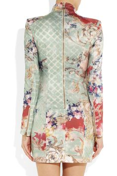 Balmain | Printed silk-sateen dress | NET-A-PORTER.COM