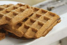 Peanut Flour Waffles. Only 2 net carbs, delicious and easy.