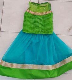Blue and green , a breezy combination! Baby Frock Pattern, Frock Patterns, Dress Sewing Patterns, Baby Lehenga, Kids Lehenga, Baby Girl Dresses, Baby Dress, Cute Dresses, Kids Frocks