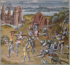 Gideon's battle with the Midianites. Master of the Soane Josephus; follower of Loyset Liédet: Chronique of Baudouin d'Avennes (L'histoire tripartite, Le trésor de sapience).  	Netherlands, S. (Bruges?) ca 1473 / 1480. British Library, London, Royal 18 E V, fol. 54v - Detail (Thanks to Mark Lewis for identification)