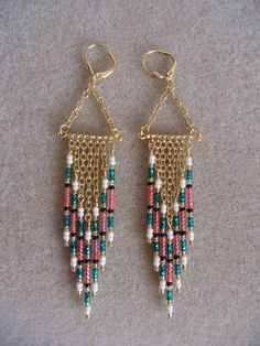 Seed Bead Earrings Modern Native American Style by pattimacs, $16.50