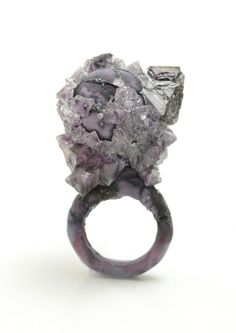 ring - Wenhui-Li  Mixed Media Rings  - made from salt crystals grown on a ring