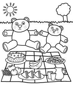 Picnic Spring Coloring Page