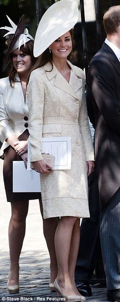 Duchess in her Day Birger et Mikkelsen brocade coat.  She recycles looks, including a few pre-engagement ones. Three outfits worn three times (as in the Day Birger et Mikkelsen brocade coat, pictured above on three different occasions), eight outfits worn twice