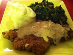 Chicken Fried Steak with buttermilk mashed and Swiss chard.