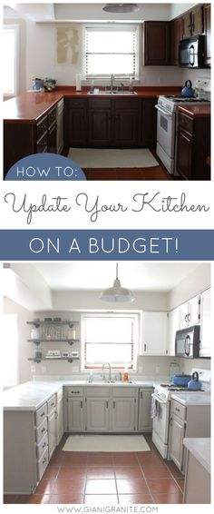 Kitchen makeover on a budget! AMAZING WHAT A LITTLE PAINT CAN DO! Transform your kitchen with Giani Granite Countertop Paint. DIY. Kitchen before and after. http://www.thethomehome.com/