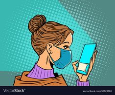woman in medical mask reads a smartphone - Buy this stock vector and explore similar vectors at Adobe Stock Pop Art Drawing, Art Drawings, Desenho Pop Art, Pop Art Illustration, Illustrations, Pop Art Girl, Zombie Art, Arte Pop, Famous Artists