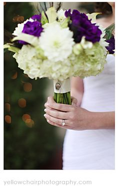 Bridal Bouquet of Purple Lisianthus and Hydrangea and Dahlias - Petite Fleur by The French Bouquet - As Featured on the Yellow Chair Photogr...
