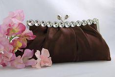 Brown Satin Bridal Evening Bag