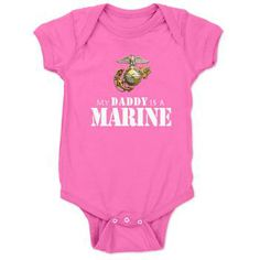Daddy is a Marine Baby onsie, wouldn't this be great for a little girl. Great newborn gift for a baby shower who is in the USMC family