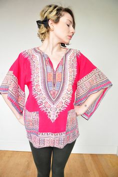 1970's Indian African Tunic Dashiki Top in Red