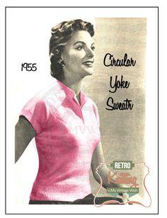 1955 Ladies Yoke Sweater Knitting Pattern  - PDF Instant Download door MyVintageWish op Etsy https://www.etsy.com/nl/listing/231184776/1955-ladies-yoke-sweater-knitting