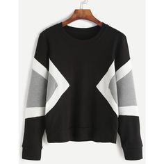 Black Contrast Panel Sweatshirt (€11) ❤ liked on Polyvore featuring tops, hoodies, sweatshirts, black multicolor, color-blocked sweatshirt, long sleeve tops, stretch top, colorful sweatshirts and color block pullover